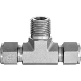 """316 SS Double-Ferrule Instrumentation Fitting -Tee Adapter for 3/8"""" Tube OD x 1/4"""" Male Thread"""