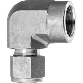 """316 SS Double-Ferrule Instrumentation Ftg -90 Degree Elbow Adapter for 3/8"""" Tube OD x 3/8"""" FNPT"""