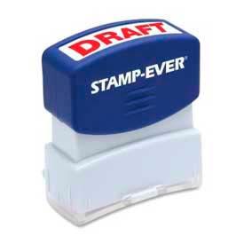 "U.S. Stamp & Sign Stamp-Ever® Pre-Inked Stamp, DRAFT, 9/16"" x 1-11/16"", Red"