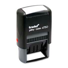 """U.S. Stamp & Sign Trodat® Self-inking Message/Date Stamp, 4 Phrases, 1"""" x 1-5/8"""", Blue/Red"""