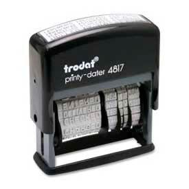 "U.S. Stamp & Sign Trodat® Self-inking Message/Date Stamp, 12 Phrases, 3/8"" x 2"", Black"
