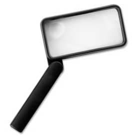 "Sparco™ Hand-Held Magnifier, 2X Magnification with 4X Inset, 2"" x 4"" Lens, Acrylic"