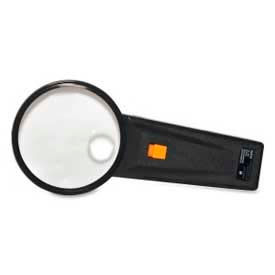 "Sparco™ Illuminated Magnifier, 2X Magnification with 4X Inset, 3"" Diameter Lens, Acrylic"