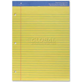 "Sparco™ Premium Legal Pad, 8-1/2"" x 11-3/4"", Wide Ruled, 3-Hole Punched, Canary, 50 Sheets/Pad"