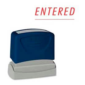 """Sparco™ Pre-Inked Message Stamp, ENTERED, 1-3/4"""" x 5/8"""", Red"""