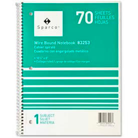 """Sparco™ 1-Subject Notebook, 8"""" x 10-1/2"""", College Ruled, Bright White, 70 Sheets/Pad"""