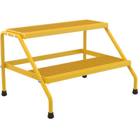 Vestil Aluminum Yellow Wide Step Stand - 2 Step - SSA-2W-KD-Y