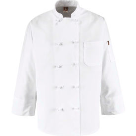 Chef Designs 10 Button-Front Chef Coat, Knot Buttons, White, Polyester, S by