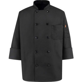 Chef Designs 10 Button-Front Chef Coat, Pearl Buttons, Black, Spun Polyester, XS by