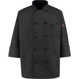 Chef Designs 10 Button-Front Chef Coat, Knot Buttons, Black, Spun Polyester, M by