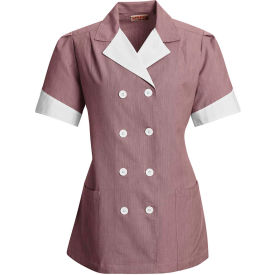 Red Kap® Double-Breasted Lapel Tunic Short Sleeve Burgundy Pincord Regular-L - 9S03