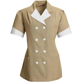 Red Kap® Double-Breasted Lapel Tunic Short Sleeve Tan Pincord Regular-S - 9S03