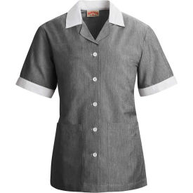 Red Kap® Single-Breasted Tunic Short Sleeve Black Pincord Regular-XS - 9S05