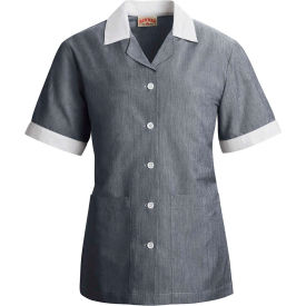 Red Kap® Single-Breasted Tunic Short Sleeve Navy Pincord Regular-M - 9S05