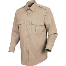 Horace Small™ New Dimension Stretch Poplin Men's Long Sleeve Shirt Silver Tan 18.5 x 34 - HS11