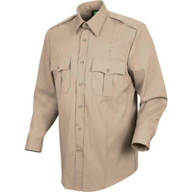 Horace Small™ New Dimension Stretch Poplin Men's Long Sleeve Shirt Silver Tan 19 x 34 - HS11