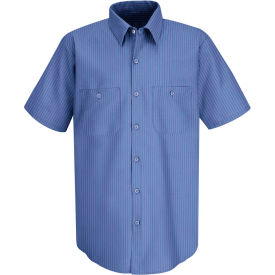 Red Kap® Men's Industrial Stripe Work Shirt Short Sleeve Petrol Blue/Navy Stripe 3XL SB22