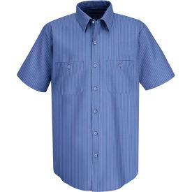 Red Kap® Men's Industrial Stripe Work Shirt Short Sleeve Petrol Blue/Navy Stripe Long-3XL SB22