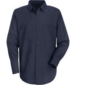 Red Kap® Men's Wrinkle-Resistant Cotton Work Shirt Long Sleeve Long-XL Navy SC30-SC30DNLNXL