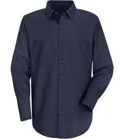 Red Kap® Men's Wrinkle-Resistant Cotton Work Shirt Long Sleeve Regular-S Dark Navy SC30
