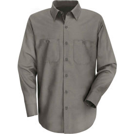 Red Kap® Men's Wrinkle-Resistant Cotton Work Shirt Long Sleeve Extra Long-XL Graphite Gray SC30