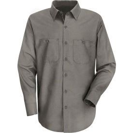 Red Kap® Men's Wrinkle-Resistant Cotton Work Shirt Long Sleeve Extra Long-2XL Gray SC30