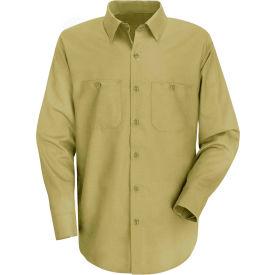 Red Kap® Men's Wrinkle-Resistant Cotton Work Shirt Long Sleeve Extra Long-XL Khaki SC30