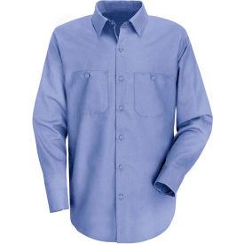 Red Kap® Men's Wrinkle-Resistant Cotton Work Shirt Long Sleeve Extra Long-XL Light Blue SC30