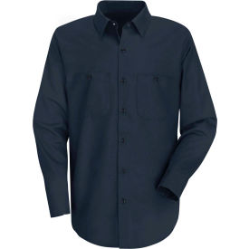 Red Kap® Men's Wrinkle-Resistant Cotton Work Shirt Long Sleeve Long-M Navy SC30-SC30NVLNM