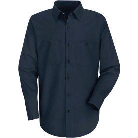 Red Kap® Men's Wrinkle-Resistant Cotton Work Shirt Long Sleeve Extra Long-2XL Navy SC30