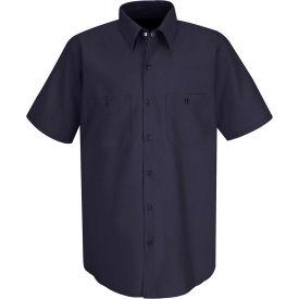 Red Kap® Men's Wrinkle-Resistant Cotton Work Shirt Short Sleeve L Dark Navy SC40-SC40DNSSL