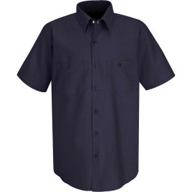 Red Kap® Men's Wrinkle-Resistant Cotton Work Shirt Short Sleeve XL Dark Navy SC40-SC40DNSSXL