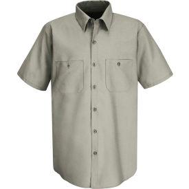 Red Kap® Men's Wrinkle-Resistant Cotton Work Shirt Short Sleeve Long-L Graphite Gray SC40