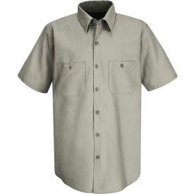Red Kap® Men's Wrinkle-Resistant Cotton Work Shirt Short Sleeve Long-2XL Graphite Gray SC40