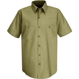 Red Kap® Men's Wrinkle-Resistant Cotton Work Shirt Short Sleeve Long-2XL Khaki SC40-SC40KHSSLXX
