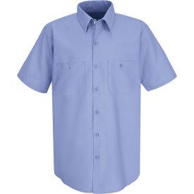 Red Kap® Men's Wrinkle-Resistant Cotton Work Shirt Short Sleeve Long-XL Light Blue SC40