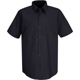 Red Kap® Men's Wrinkle-Resistant Cotton Work Shirt Short Sleeve Long-L Navy SC40-SC40NVSSLL