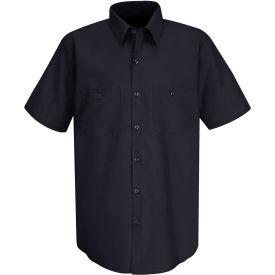 Red Kap® Men's Wrinkle-Resistant Cotton Work Shirt Short Sleeve Long-XL Navy SC40-SC40NVSSLXL