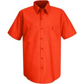 Red Kap® Men's Wrinkle-Resistant Cotton Work Shirt Short Sleeve L Orange SC40-SC40ORSSL