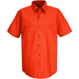 Red Kap® Men's Wrinkle-Resistant Cotton Work Shirt Short Sleeve M Orange SC40-SC40ORSSM