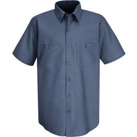 Red Kap® Men's Wrinkle-Resistant Cotton Work Shirt Short Sleeve Long-L Postman Blue SC40