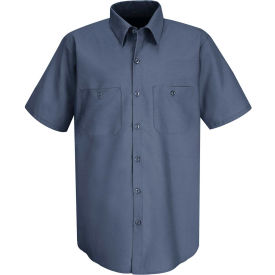 Red Kap® Men's Wrinkle-Resistant Cotton Work Shirt Short Sleeve 2XL Postman Blue SC40