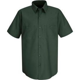 Red Kap® Men's Wrinkle-Resistant Cotton Work Shirt Short Sleeve M Spruce Green SC40-SC40SGSSM
