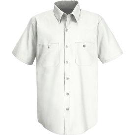 Red Kap® Men's Wrinkle-Resistant Cotton Work Shirt Short Sleeve M White SC40-SC40WHSSM