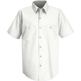 Red Kap® Men's Wrinkle-Resistant Cotton Work Shirt Short Sleeve S White SC40-SC40WHSSS