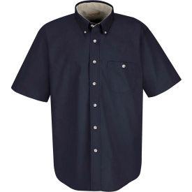 Red Kap® Men's Cotton Short Sleeve Contrast Dress Shirt Navy/Stone XL - SC64