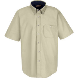 Red Kap® Men's Cotton Short Sleeve Contrast Dress Shirt Stone/Navy S - SC64