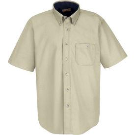 Red Kap® Men's Cotton Short Sleeve Contrast Dress Shirt Stone/Navy XL - SC64