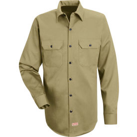 Red Kap® Men's Deluxe Heavyweight Cotton Shirt Long Sleeve Long-XL Khaki SC70-SC70KHLNXL