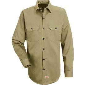Red Kap® Men's Deluxe Heavyweight Cotton Shirt Long Sleeve Regular-S Khaki SC70-SC70KHRGS